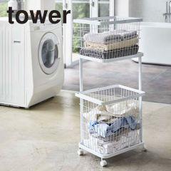 ランドリーワゴン+バスケット/タワー ホワイト